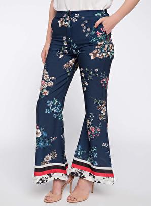 DeFacto Çiçek Desenli İspanyol Paça Saten Pantolon